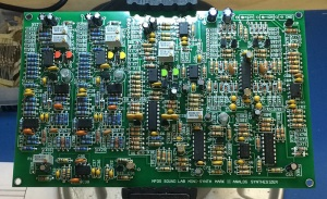 Photo of a Mk II synth circuit board with components.