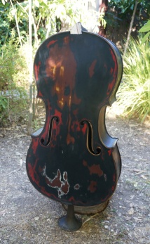 Photo of a charred cello at Dumfuxx photo shoot.