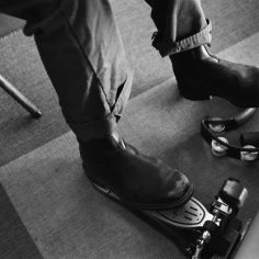 Photo of Carlos Grasso's shoes during a Dumfuxx rehearsal