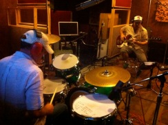 "photo of David Lovering of The Pixies and Dylan Howe playing drums and bass at Little Box Studios for the Dumfuxx score to ""Asphalt Serenade"""