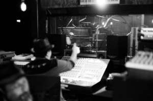 Black and white photo of James Slay of Dumfuxx and David Lovering of The Pixies at Little Box Studios.