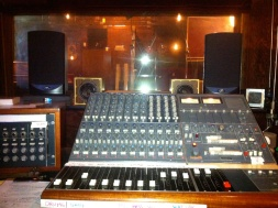 Photo of the mixing board at Little Box Studios.