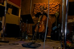 Photo of Richard Dodd of The Section Quartet playing cello at Little Box Studios