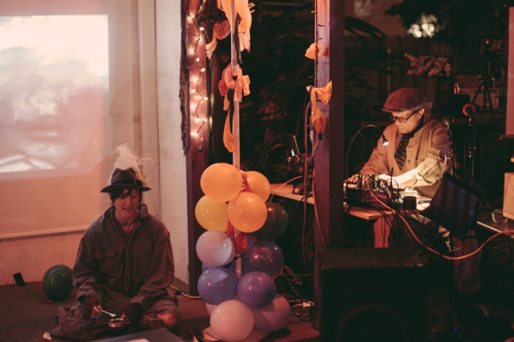 Photo of musicians and filmmakers performing at Bar Redux
